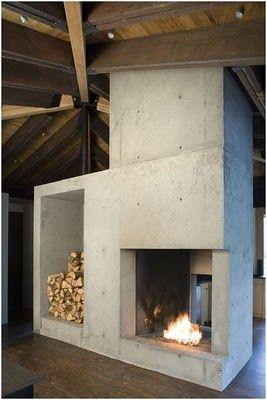 cheminée béton great concrete fireplace