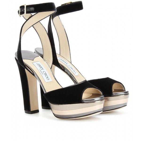 Jimmy Choo Levir Platform Peep-Toe Sandals (25.495 RUB) ❤ liked on Polyvore featuring shoes, sandals, heels, jimmy choo, scarpe, grey, grey sandals, peep toe sandals, grey heel sandals and platform heel sandals