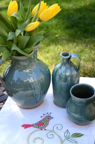 Wood fired pitcher, jug and mug in gorgeous green glaze