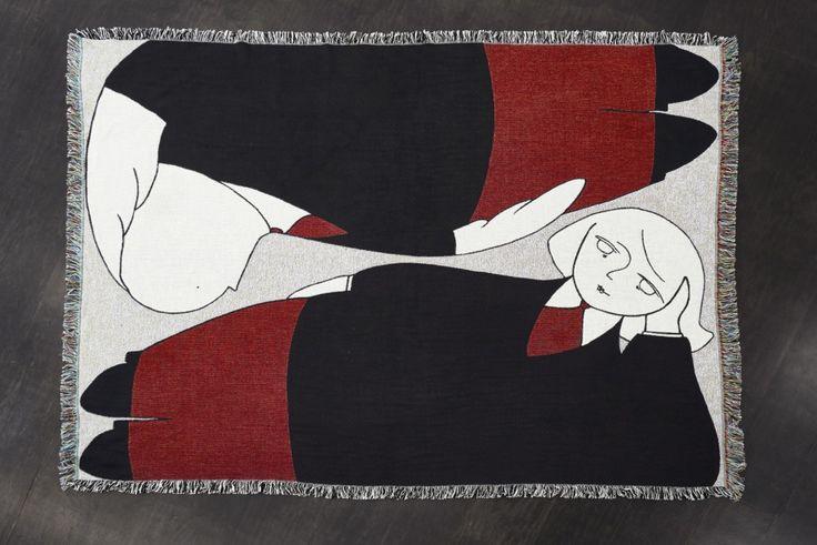 AMALIA ULMAN, Monday Cartoons  Opening: Thursday July 20, 7 pm  , Amalia Ulman, Reclining Bob (Munich), 2017, cotton blanket, 139 x 195 cm