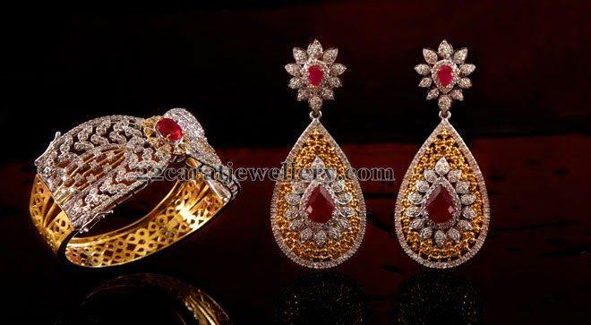 Jewellery Designs: Diamond Ruby Earrings Kada