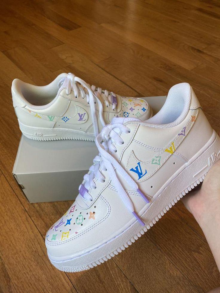 Rainbow LV x Nike Air Force 1 Etsy in 2020 Nike air