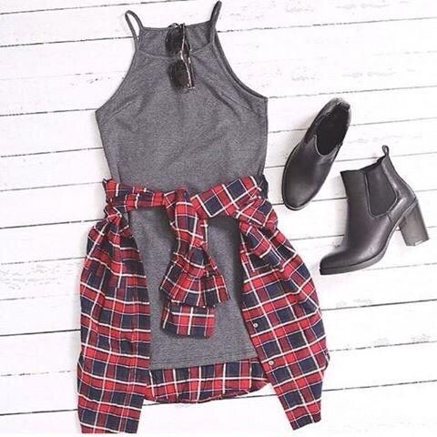 halter dress + flannel