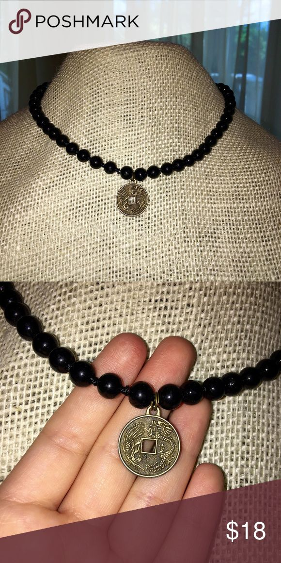 Black choker necklace! cite black beaded chocked with gold dragon coin pendant! Bama Boho Designs Jewelry Necklaces