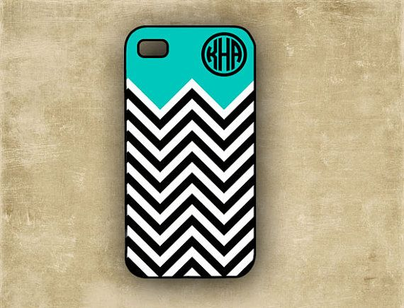 Chevron stripe phone case, silicone iPhone 4 case - Tiffany blue with black and white chevron, personalized Iphone 4s cover