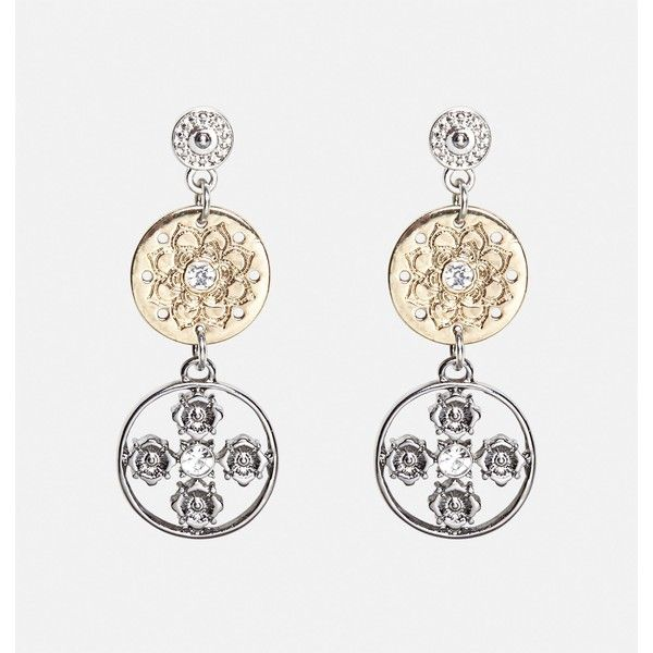 Avenue Mixed Metal Antique Disc Earrings ($2.99) ❤ liked on Polyvore featuring jewelry, earrings, multi color, plus size, mixed metal earrings, multi colored earrings, antique jewellery, earring jewelry and multi color earrings