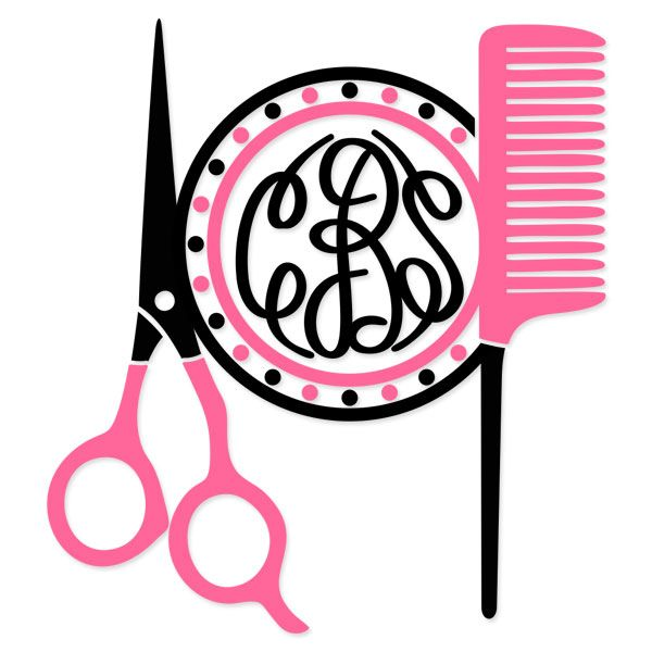 free Hairdresser Monogram  | Hairdresser Hair Salon Monogram Frame Svg Cuttable Designs.