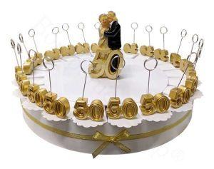 Torta bomboniera Nozze Oro 22 Segnaposto scritta 50