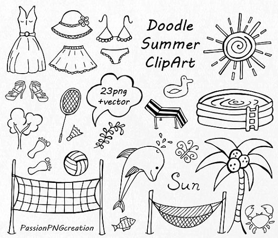 BIG SET of Doodle Summer cliparts Hand drawn vacation