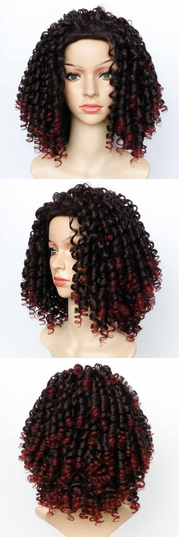 Soloowigs Bouncy Curly Frosted Color Synthetic Afro Wigs 14inch Medium Length Full Lace Hairpieces Puffy hair Style