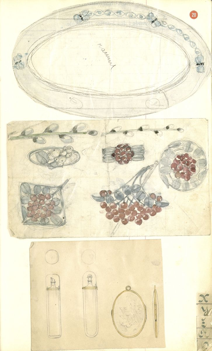 Gustav Gaudernack. Various pencil and watercolour scetches. A sikver and enamel frame with butterfly motif around the edge. Four silver and enamel brooches with rowanberry motifs and one with snowball motif. An oval gilt silver medallion with flowers in enamel and two perfume bottles (?).Tegning (skissebok) @ DigitaltMuseum.no