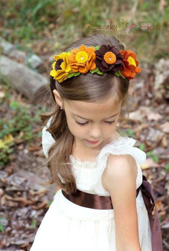 Fall Headband - Wool Felt Flower Headband - Autumn Headband - Thanksgiving Headband - Girls Headband - Adult Headband- Photo Prop