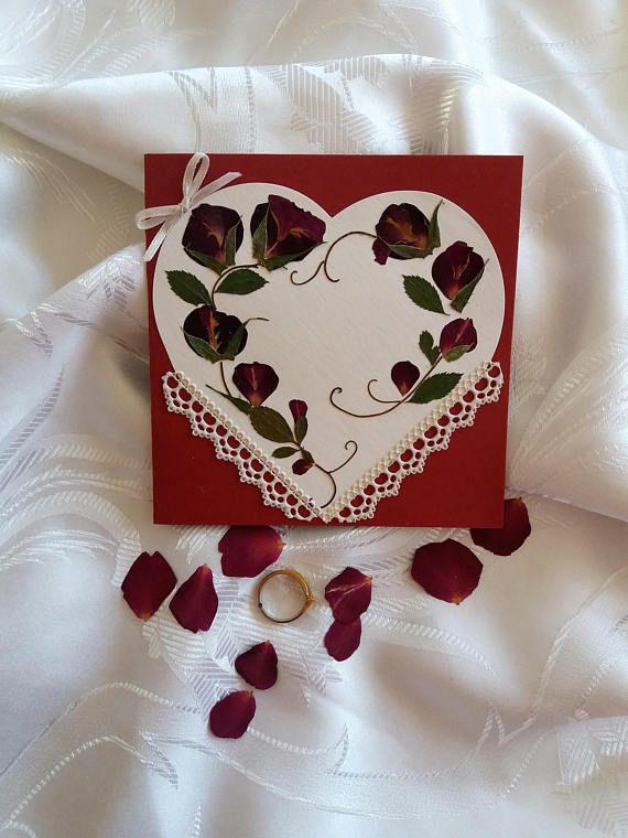 Romantic Valentine Card .Heart shaped card. OOAK Pressed rose