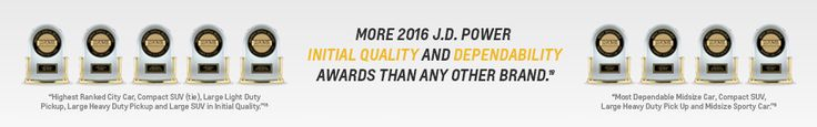 Chevrolet received more 2016 J.D. Power Initial Quality and Dependability awards than any other brand.  Our Awardees: Chevrolet Spark Chevolet Camaro Chevrolet Tahoe Chevrolet Equinox Chevrolet Silverado HD Chevorlet Malibu  Chevrolet Silverado LD  Check out our award winning CHEVROLET vehicles at Chevrolet Cadillac of Santa Fe: www.chevroletofsantafe.com.