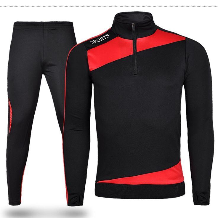 16 17 Men Sport Running Survetement Football Set Long Jacket Suit Soccer Training Skinny Leg Pants Tracksuits Kits Sportswear