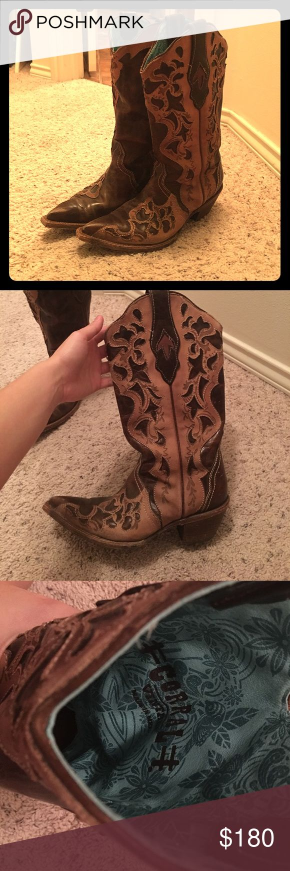 CORRAL Vintage Boots Corral registered vintage boots.  Worn a couple of times.  They're in great condition, I just don't really have anything to wear them to.  Brown with turquoise on the inside. corral Shoes Heeled Boots