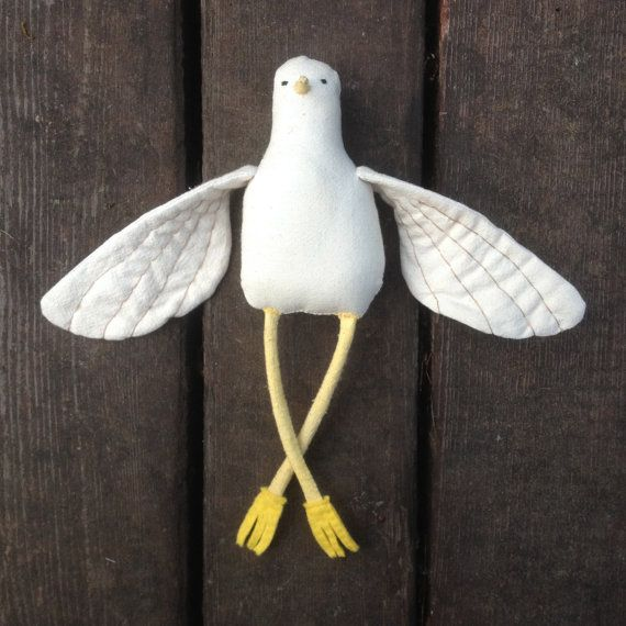 Bird Stuffed Animal - Soft Sculpture - Soft Toy - Cloth Doll - Rag Doll - Choose Pom Pom Color