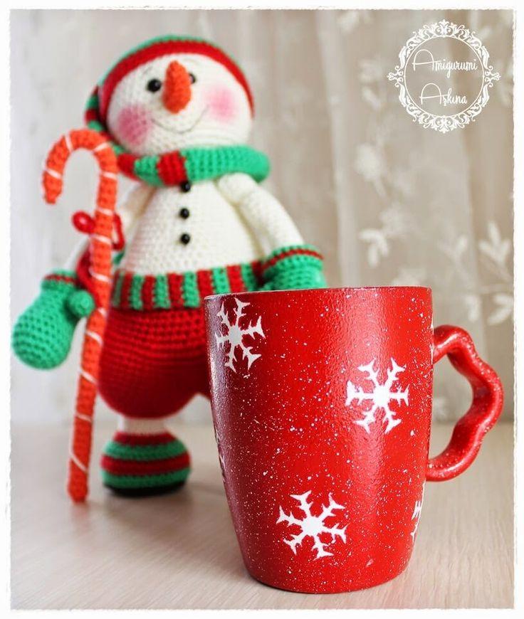 Amigurumi Aşkına: Kartaneli Kırmızı Kupa Boyayalım-Resimli Anlatımlı-Snowflakes red cup