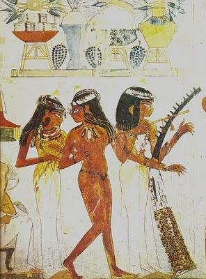 Egipt malowid o tancerka i dwie muzykantki grobowiec for Mural egipcio