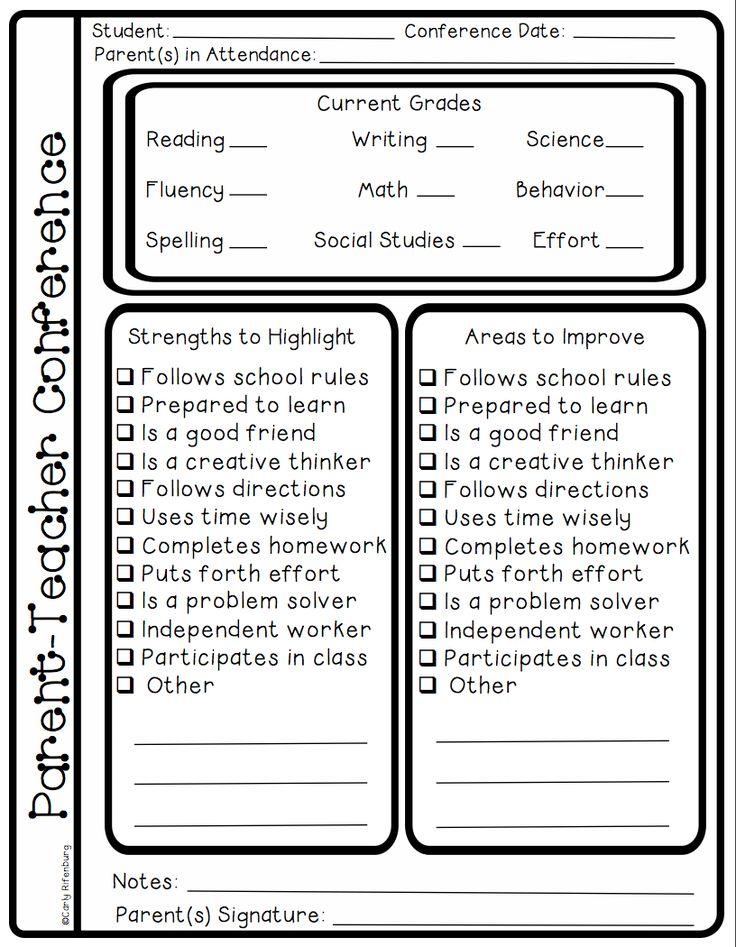Parent teacher conference forms parent teacher conference checklists parent teacher conference printables parent teacher conferences