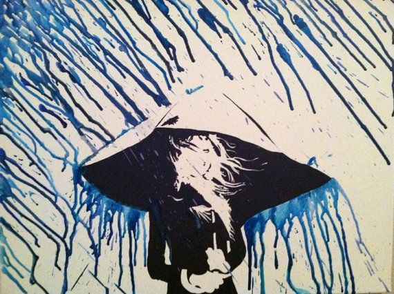 Inspiration for a umbrella silhouette in melted crayon rain.