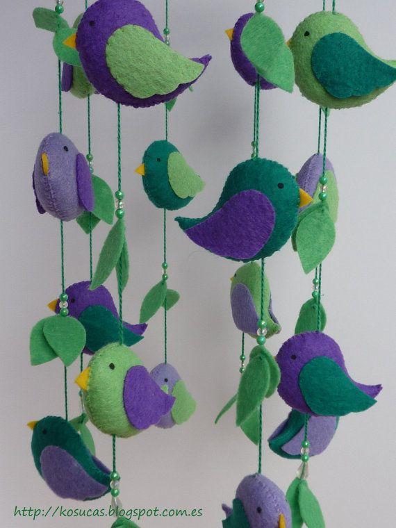 Felt mobile with birds.