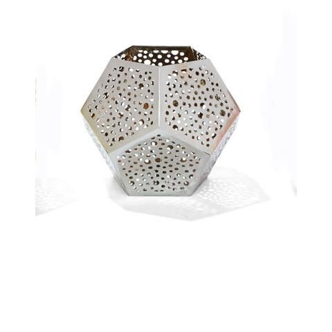 Geometric Metal Tealight Candle Holder - Silver