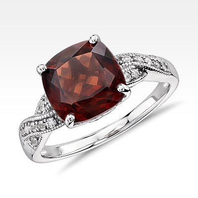 Garnet and White Sapphire Ring in Sterling Silver (9x9mm)