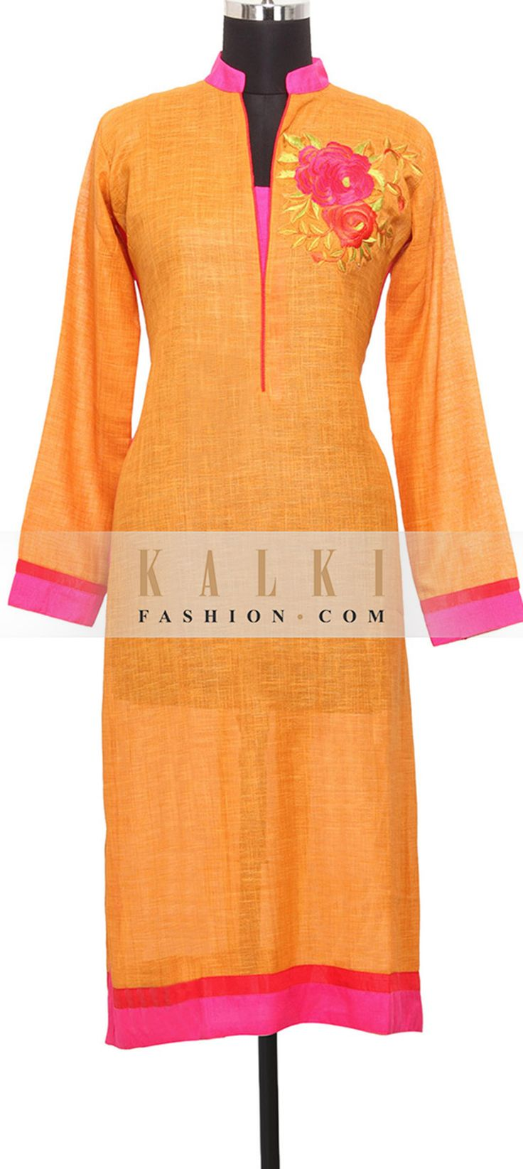 Buy Online from the link below. We ship worldwide (Free Shipping over US$100) http://www.kalkifashion.com/mustard-colored-silk-kurti-in-resham-only-on-kalki.html
