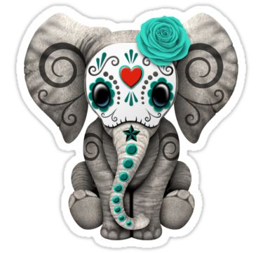 """Teal Blue Day of the Dead Sugar Skull Baby Elephant"" Stickers by Jeff Bartels 