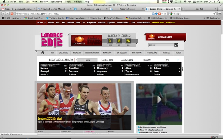 Todays shots are the first to show athletes from countries other than Mexico. Today there was a 3:1 male female ratio of photos. Every day of the study Football has been present and star player Giovani has been given prominence.Track and field events are displayed for the first time.  The news-site has never shown sexualized pictures, so we conclude its a traditional editorship. Emphasis may have moved from face and chest to start showing more. Todays imagery contains positive pictures.