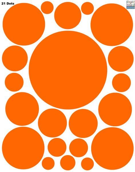 "Polka Dot Decals- Orange Wall Sticker Dots (1) 11"" quality vinyl pre-cut, peel & stick dot decal sheet Great for girls room decor & match with our pinks & puprles too- Dots are addicting"