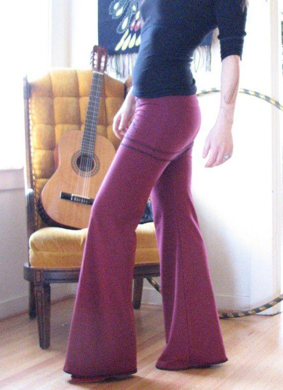 Pantalones mujer pantalones de Yoga, para mujer, pantalones de Yoga, aro del hula, ropa ecológica, ropa de danza del vientre, doblar cintura, hecho a mano, Herban Devi, ropa sexy