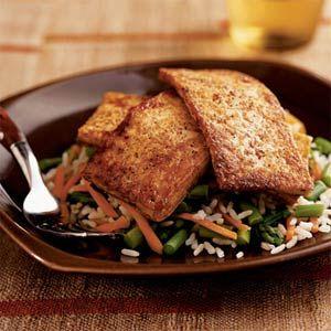 Chili-Glazed Tofu over Asparagus and Rice | MyRecipes.com
