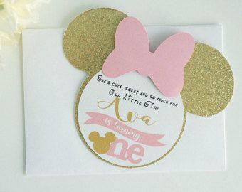 Rosa y oro Minnie Mouse invitaciones luz rosada y por pinchmycheeks
