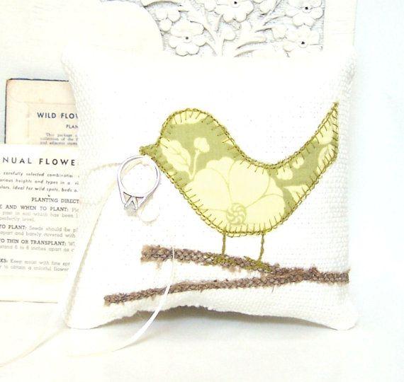 Wedding Ring Bearer Pillow Love Bird, Modern Sage Green Flowers, Off White Pillow, Spring Wedding