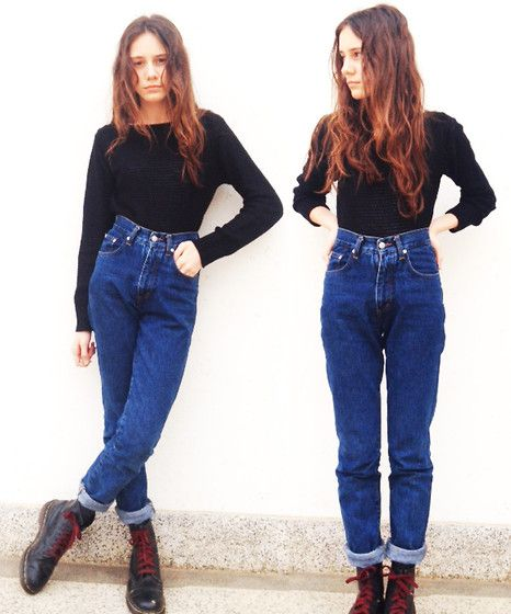 River Island Mom Jeans, American Apparel Sweater, Dr. Martens Dr Martens