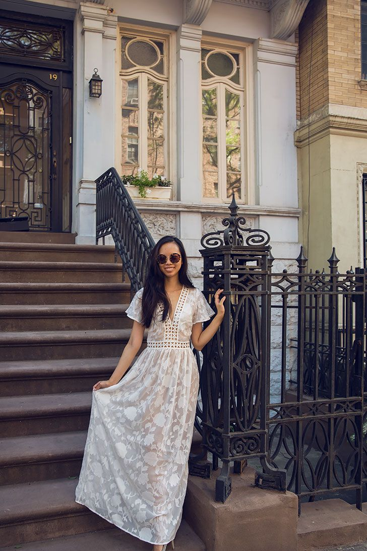 NYC fashion blogger - white lace maxi dress