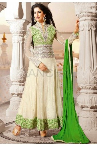 Off White Net Abaya Style Kameez With Matching Churidar And Green Dupatta