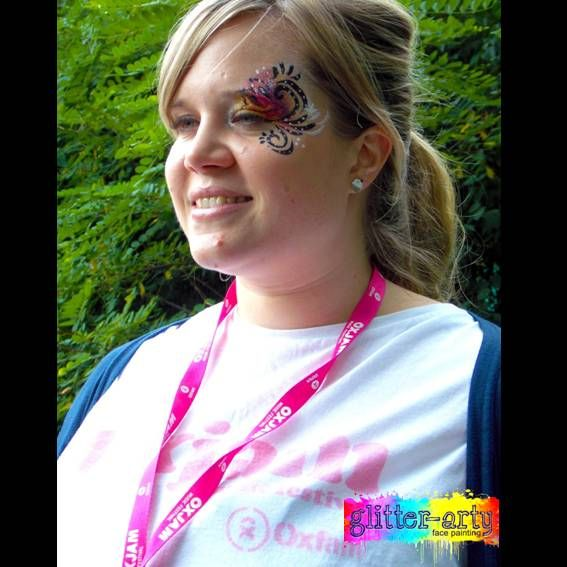 Pretty Eye design done at a charity event by Glitter-Arty Face Painting, Bedford, Bedfordshire