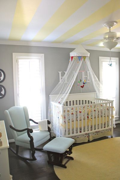 Stripes on the Ceiling: Yellow Stripes, Striped Ceiling, Nurseries, Nursery Ideas, Ceilings, Baby Room, Gray Wall