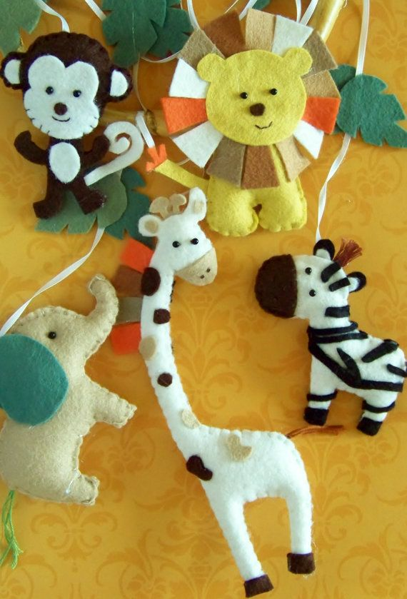 Baby Mobile - Baby Crib Mobile - Jungle  Mobile - Nursery Baby Room Jungle Lullaby (You can pick your colors) via Etsy