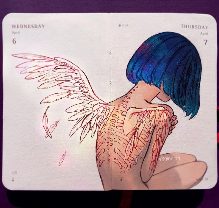 Back Tattoo - I had the image of wings coming out of her bones/wing tattoos in my head.  that'd look like a pretty cool animation scene...in my head. If I had the energy or time xD;;. (Also animation is so tedious and hard and I'm lazy -w-;;;) by qinniart