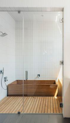 minimalist shower stall and tub