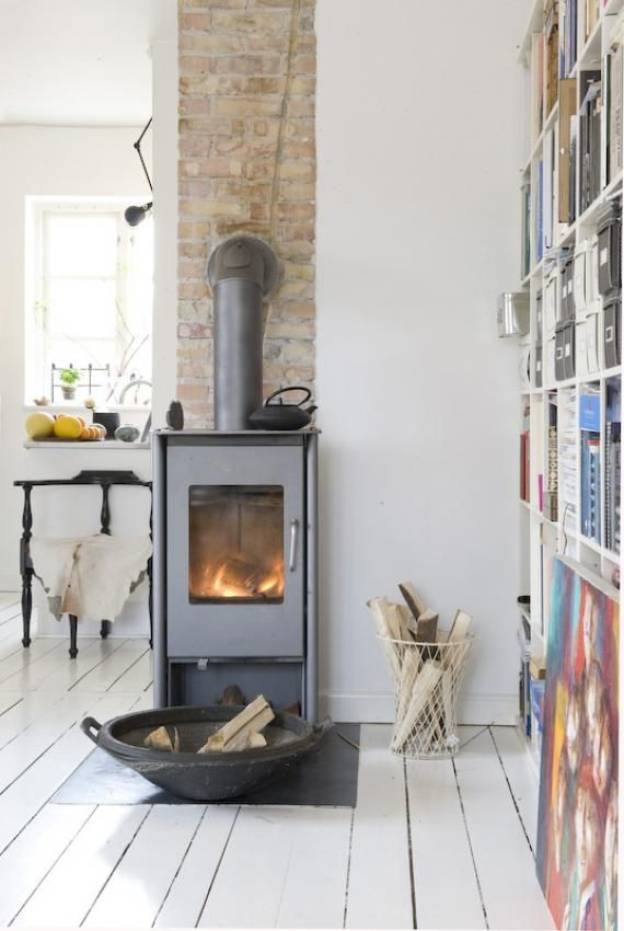 Lovely clean lines and simple wood burner #habitatpintowin