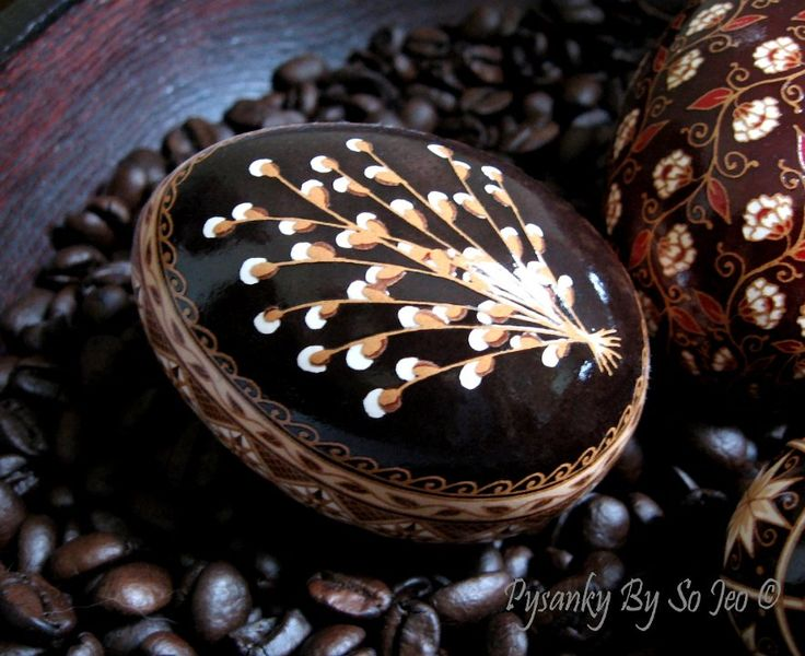 Pussywillows Etched Brown Ukrainian Easter Egg Pysanky By So Jeo