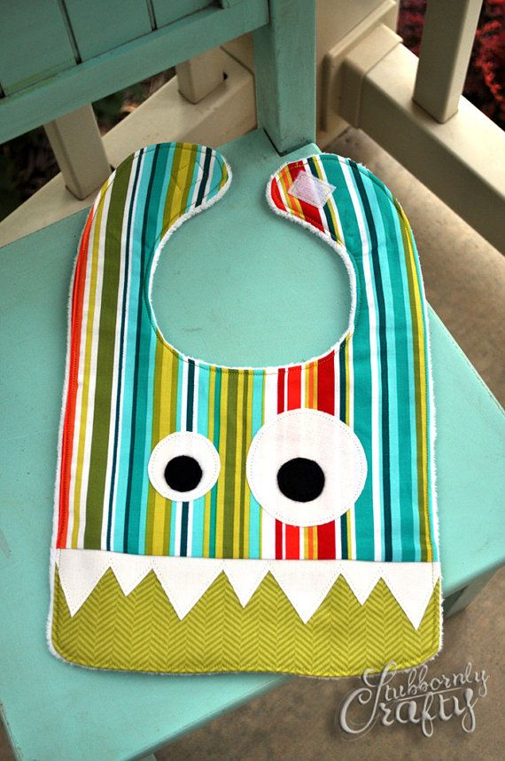 Monster Baby Bib, Handmade by Lisa