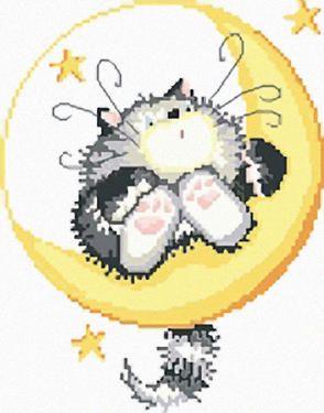 Punto croce gatto luna