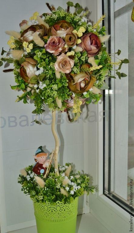 Купить Топиарий,дерево счастья,интерьерное украшение. - зелёный, флористическая композиция, топиарий дерево счастья