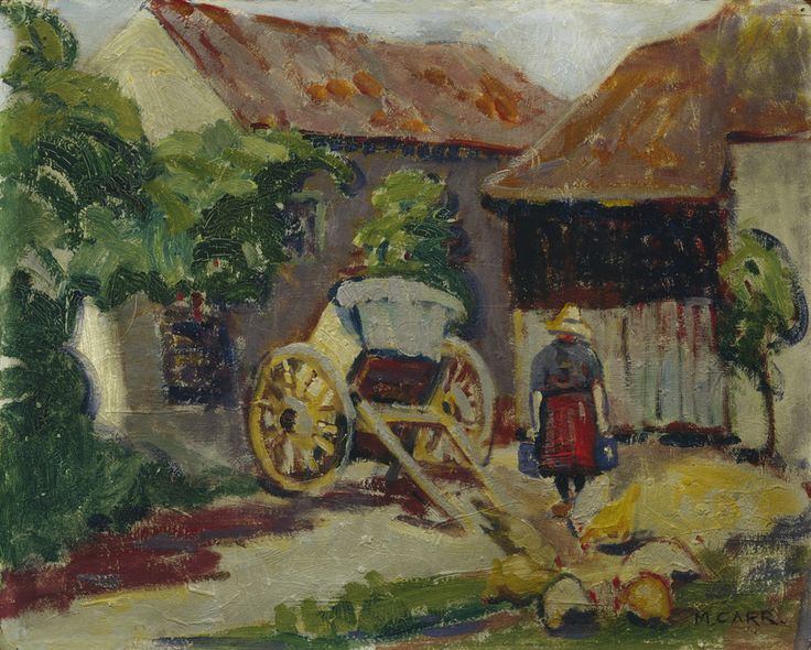 """In 1910 Emily Carr travelled abroad to Paris, studying with Harry Phelan Gibb, who at the time was painting in the Fauvist style. Emily Carr, """"Breton Farm Yard,"""" c. 1911, McMichael Canadian Art Collection."""
